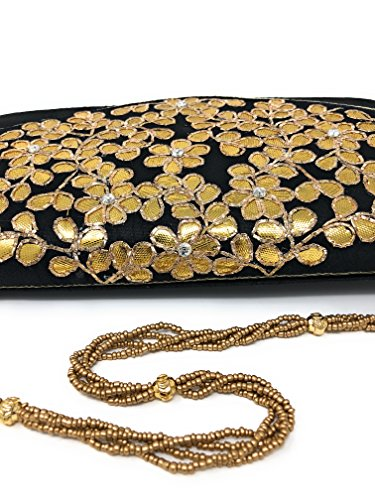 Women hand Casual design use gold flowers and natural purse evening weave party clutch for wear flower RadicalN handmade in Black BwTxdOqB