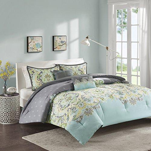 Intelligent Design ID10-819 Zana Comforter Set Full/Queen Aqua,Full/Queen