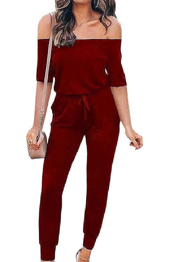 HEFASDM Womens A Shoulder Drawstring Waist Short-Sleeve Jumpsuits Romper