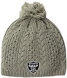 NFL Oakland Raiders Women's Valerie OTS Beanie Knit Cap with Pom, Gray, Women's