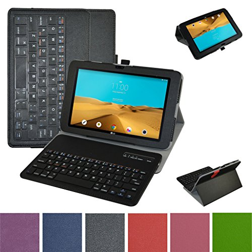 LG G Pad II 10.1/G Pad X 10.1 Bluetooth Keyboard Case,Mama Mouth Slim Stand PU Leather Cover With Romovable Bluetooth Keyboard For 10.1'' LG G Pad 2 10.1 V940/G Pad X 10.1 AT&T V930 Tablet,Black by MAMA MOUTH