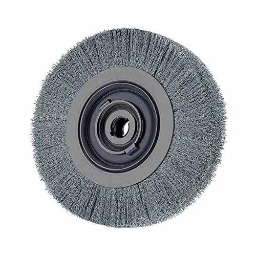 PFERD 81172 Medium Face Crimped Wheel Brush, Stainless Steel Wire, 8'' Diameter, 2'' Arbor Hole, 0.012 Wire Size, 1-1/2'' Trim Length, 1'' Face Width, 4500 Maximum rpm