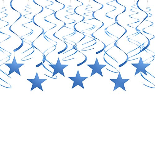 Blue Twinkle Star Swirl Decorations Hanging Swirls Plastic Streamers for Ceiling Wedding Baby Shower Birthday Graduation Party Decorations, 30 pcs -
