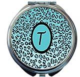 Rikki Knight Letter''T'' Sky Blue Leopard Print Monogrammed Design Round Compact Mirror