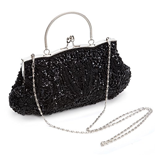 Handbag Black Party Womens for Purse Evening Bag Clutch for Bag Bags Dinner VESIA Chain Wedding Pearl 04wq6Z6a