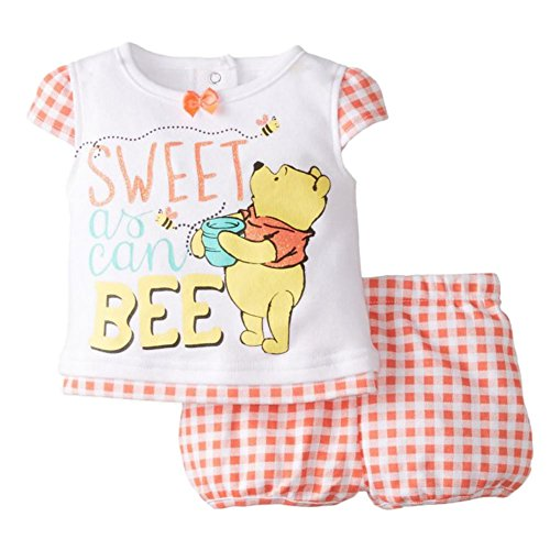 Disney Infant Girl Winnie Pooh 2 PC Sweet As Can Bee Shirt Shorts Outfit 0-3m Orange]()