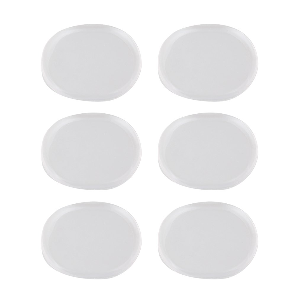 Yibuy Transparent Oval Shape Silicone Mute Silencer Pads for Rock Band Drum Set of 6