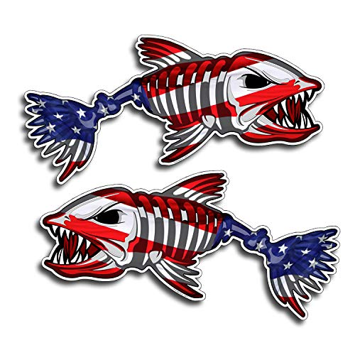 PAIR USA Bone Fish Sticker Left and Right American Flag Car Vehicle Window Bumper Fishing Decal Boat Laptop Graphic (Jet Ski Graphics)