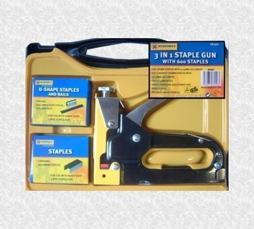 Marksman Tools 3 In 1 Staple Gun Kit With 600 Staples And Case