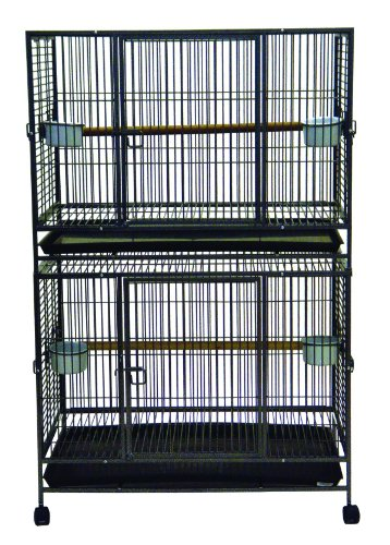 YML WI36D 1-Inch Bar Spacing Play Top Wrought Iron Double Ca
