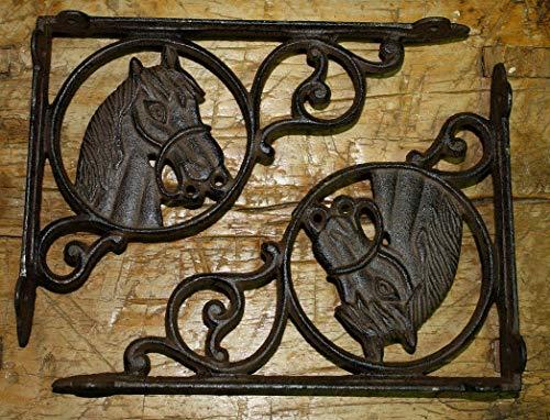 (6 Western Style Horse Head Brackets, Garden Braces Pony Shelf Bracket Vintage Cast Iron Supplies for Home Decor by CharmingSS)