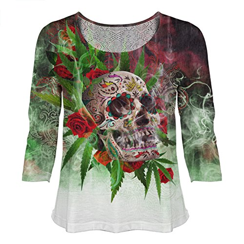 Day of The Dead Marijuana Skull for Juniors Fashion by Peoples Choice Apparel (3X)