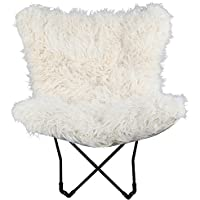 Decorative and Comfortable Quad Folds Compactly Fur Butterfly Chair, (White)