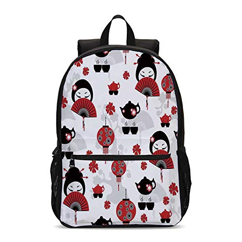 Lantern Durable Backpack,Geisha Japanese Fan Ancient Chinese Traditional Tea Pot Lanterns Floral Graphic Design Decorative for School Travel,12.2