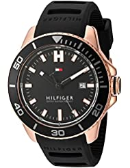 Tommy Hilfiger Mens Quartz Gold and Silicone Watch, Color:Black (Model: 1791266)