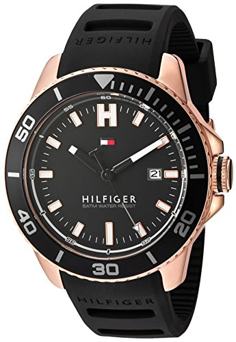Tommy Hilfiger Men's Quartz Gold and Silicone Watch, Color Black (Model: 1791266)