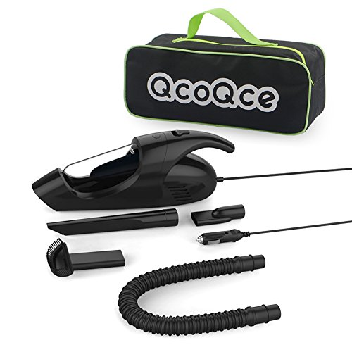 12' Mat Stack (Car Vacuum Cleaner by QcoQce - 12V 80W 3KPA Mini Portable Car Vac. Dry Vacuuming Unit with 12 Ft Power Cord and Carrying Bag   High Performance Automotive Handheld Vacuum)