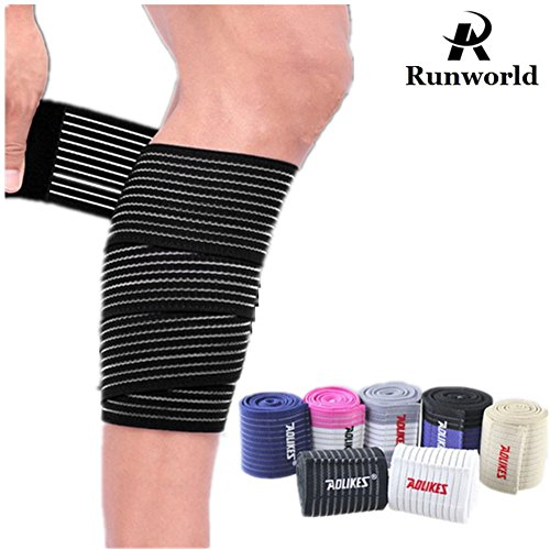 Runworld (1 Pair) Elastic Calf Shin Compression Bandage Brace Thigh Leg Wraps Support for Sports, Weightlifting, Fitness, Running - Knee Straps for Squats Men Women (Black) by Runworld