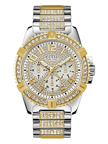 GUESS  Stainless Steel + Gold-Tone Crystal Embellished  Bracelet Watch with Day, Date + 24 Hour Military/Int'l Time. Color: Silver + Gold-Tone (Model: ()