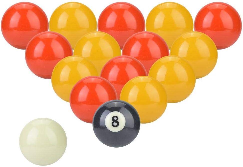AYNEFY Juego de Bolas de Billar, 16 Bolas de Billar, Rojo, Amarillo, estándar británico, diámetro de 2 Pulgadas: Amazon.es: Deportes y aire libre