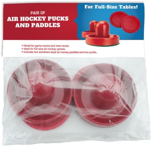 Replacement Pucks /& Pusher Mallets for Full Size Air Hockey Game Tables Brybelly Pucks /& Paddles Set of Two 3.75 Air Hockey Paddles /& 3.25 Pucks