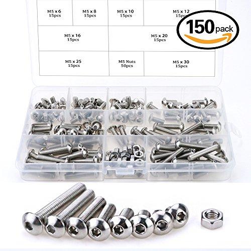 Glarks 150Pcs M5 Stainless Steel Button Head Hex Socket Head Cap Bolts Screws Nuts Assortment Kit