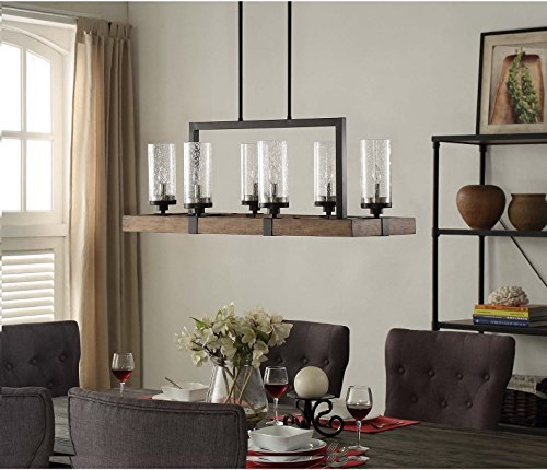 Vineyard Rustic Style 6-Light Glass Fixture Metal And Wood Ceiling Chandelier .#GH45843 3468-T34562FD589272 by Nessagro (Image #1)