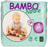 Bambo Nature Premium Baby Diapers, Size 4, 180 Count (6 Pack of 30)