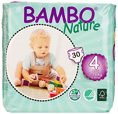 Bambo Nature Maxi Baby Diapers, Size 4 , 180 count, (Pack of 6)
