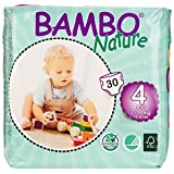 Bambo Nature Premium Baby Diapers, Maxi, Size 4, 30 Count (Pack of 6)
