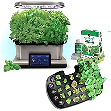 AeroGarden Harvest Touch 6 LED Stainless Steel with Gourmet Herb Seed Pod Kit and Bonus Seed Starting System