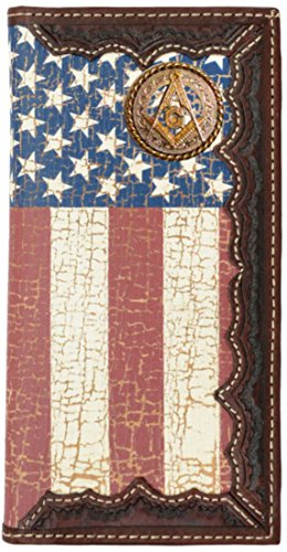 (Custom Masonic Square and Compass American Flag Long Wallet with Distressed United States Flag)
