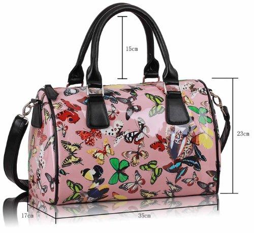ANNA GRACE - Bolso mochila  de Charol para mujer Design 1 - Pink