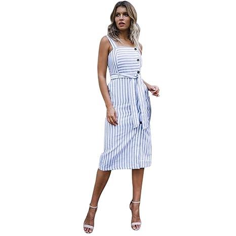 Vestidos Mujer Verano 2018mujer Vestido Largo De Rayas Bohemio Dama Playa Verano Sundrss Botón Abajo Vestido Maxi Lmmvp Azul L