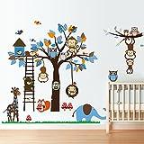 "Kids Wall Decal, Anumit Animals Theme Wall Sticker, Large Paper Sheet 73"" Children Decor Art Wallpaper Mural for Children Bedroom, Nursery, Playroom"