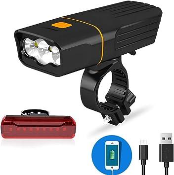 Spritech - Juego de Luces para Bicicleta (Recargables, USB, 1000 lúmenes, 3 ledes, función de Banco de energía y luz Trasera IPX5, Resistente al Agua): Amazon.es: Deportes y aire libre