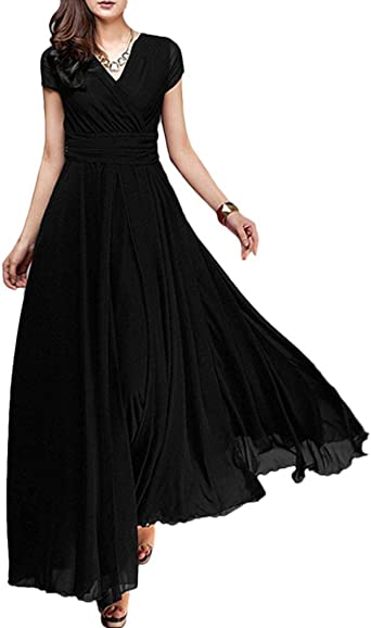 Neggcy Womens Cap Sleeve Long Chiffon Mother of Bride Dresses with Lace Appliques