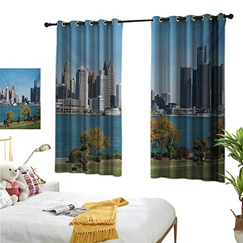 WinfreyDecor Fabric Shower Curtain Liner Detroit,Industrial City Center Shoreline River Scenic Panoramic View in a Sunny Day,Blue Green Silver 72