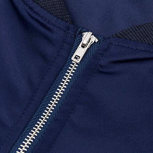 Larga Elegante Hipster Bolsillos Blau Casual Manga Moda Chaquetas Chaqueta Prendas Sólidos Abrigos Exteriores Outerwear Cremallera Laterales Primavera Ropa Colores Mujer Otoño con OqwS5I1aq