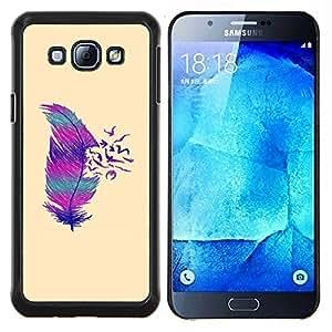 KLONGSHOP // Cubierta de piel con cierre a presión Shell trasero duro de goma Protección Caso - Pájaros profundo minimalista - Samsung Galaxy A8 A8000 //