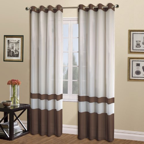 - United Curtain Milan Sheer Window Curtain Panel, 54 by 63-Inch, Chocolate