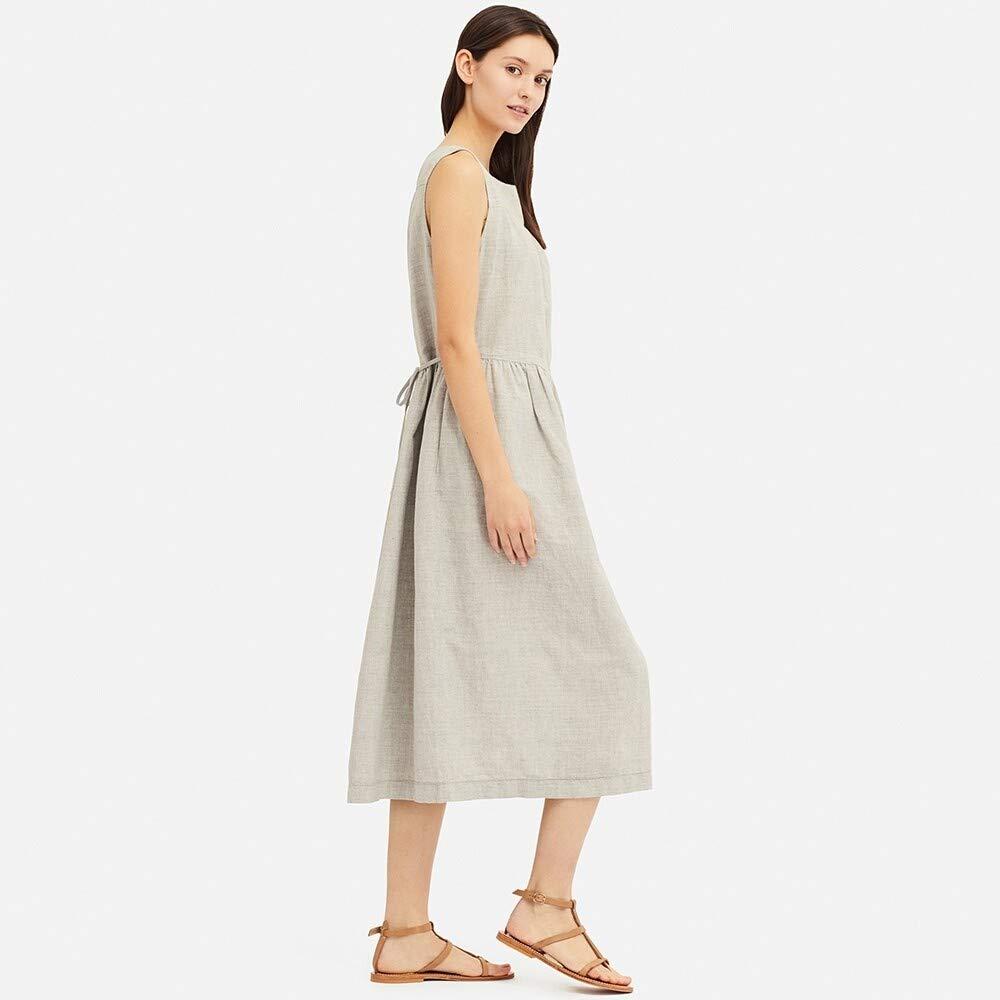 Woman Dress Women's Cotton and Linen Dress (Sleeveless)