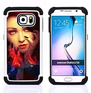 For Samsung Galaxy S6 G9200 - Woman Red Head Fire Witch Eyes Wizzard /[Hybrid 3 en 1 Impacto resistente a prueba de golpes de protecci????n] de silicona y pl????stico Def/ - Super Marley Shop -