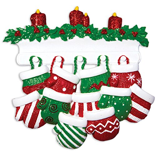 Personalized Mitten Family of 11 Christmas Tree Ornament 2019 - Knit Winter Stocking Gloves Mantle Candles Parent Children Friend Glitter Gift Tradition First Year - Free Customization (Eleven)