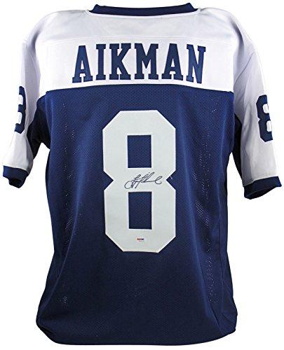 Cowboys Troy Aikman Authentic Signed Blue Jersey Autographed PSA/DNA ()
