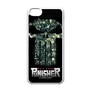 Generic hard plastic Frank Castle Punisher Skull Logo Cell Phone Case for iPhone 5C White ABC8354120