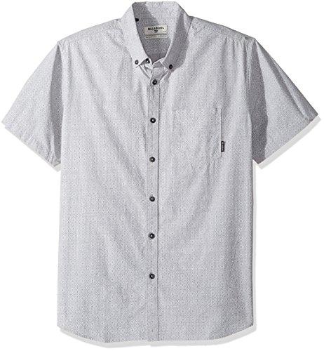 Billabong Men's Sundays Mini Short Sleeve Shirt, Light Grey Heather, Medium