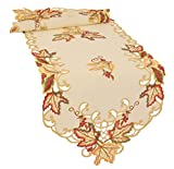 Xia Home Fashions XD160912 Moisson Leaf Embroidered Cutwork Fall Table Runner, 15 by 54'' ,,