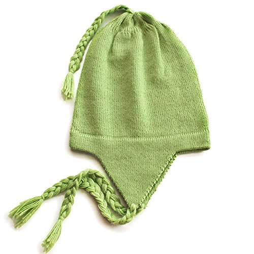 100% Alpaca Wool Knit Beanie Cap with Ear Flaps, Lightweight Andean Headwear Chullo Earflaps Hat Cold Winter Weather Accessories for Women and Men, One Size (Mint Green)