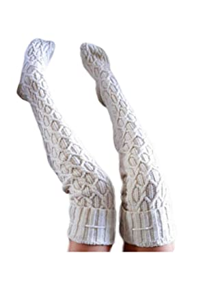b602a000d1b Womens Leg Warmers High Tie Knitted Crochet Long Boot Casual Socks Cream F   Amazon.ca  Clothing   Accessories